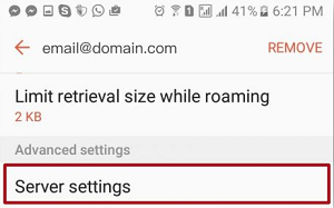 Android email settings 4